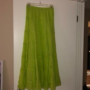 Lime green pleated maxi skirt